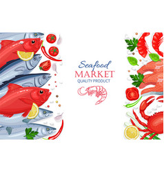 seafood healthy food cooking concept vector image