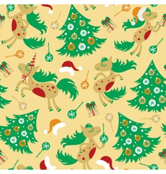 seamless pattern cute horse for Christmas vector image