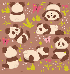 seamless pattern with cute pandas graphics vector image