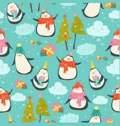 seamless pattern with cute penguins vector image
