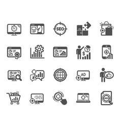 seo icons set of increase sales business vector image