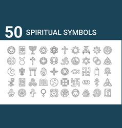 Set 50 spiritual symbols icons outline thin vector