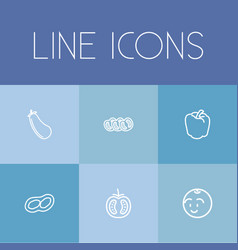 Set of 6 editable cookware outline icons includes vector