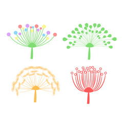 Set of colorful dandelion fluff isolated on white vector