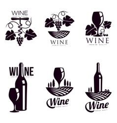 Set of elegant wine logo templates vector image