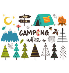 set of isolated camping nature vector image