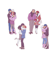 set of loving couples in vector image