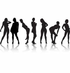 seven girls vector image