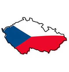 simplified map of czechia czech republic outline vector image