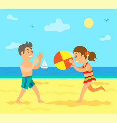 smiling people playing volleyball on beach vector image