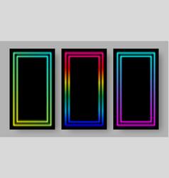 social media stories black background set vector image