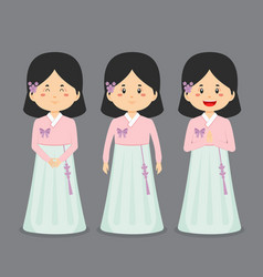South korea character with various expression vector