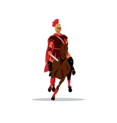 Spartan warrior on horseback holding sword vector