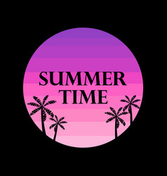 summer time text on the background of the sun vector image