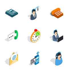 support service icons isometric 3d style vector image