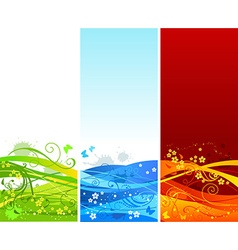 Three vertical floral banners vector image vector image