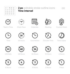 Time interval and clock face outline icons vector