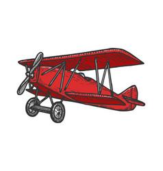 Vintage airplane sketch engraving vector
