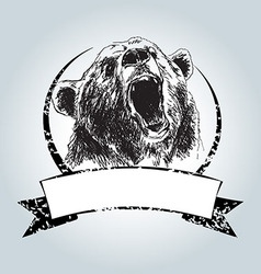 Vintage label with head bear vector