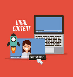 Viral content video start launch suscribe digital vector