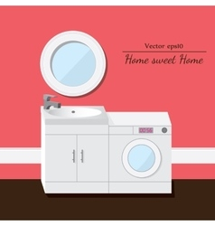 Washing and sink 3d interior Pink background vector