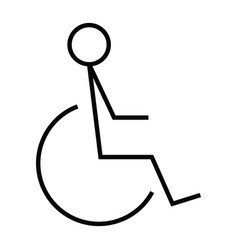 wheelchair disabled people icon with outline and vector image