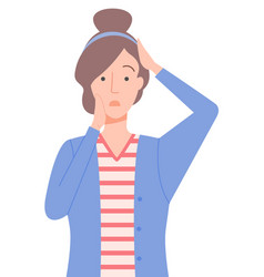 Woman with sad emotion on face posing isolated vector