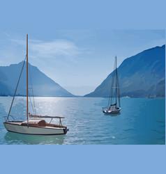 Yachts on lake vector