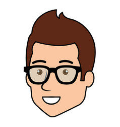 young man head avatar with glasses vector image