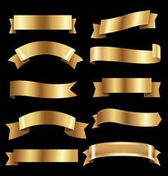 big golden ribbons set vector image vector image