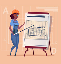 cartoon woman builder explain plan of building vector image vector image