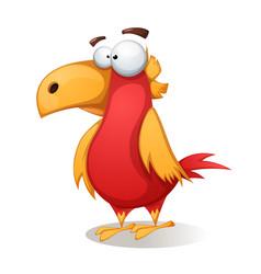 funny cute crazy - cartoon bird vector image