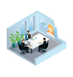 isometric video conference in office vector image vector image