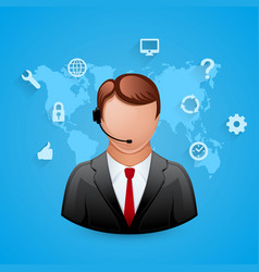 technical support blue background man with icons vector image