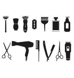 Barber tools and haircut icons set vector image vector image