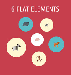 flat icons panther swine hippopotamus and other vector image vector image