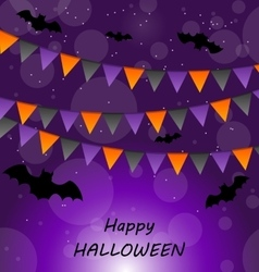 Halloween Background with Buntings and Bats vector image vector image