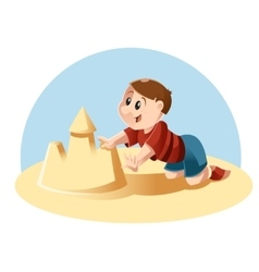 Kid plays in the sand vector image