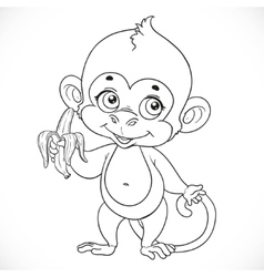 Outlined cute baby monkey with banana stand on a vector image vector image