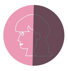 Profile head woman female long hair icon circle vector