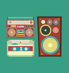 retro style collection of musical related items vector image