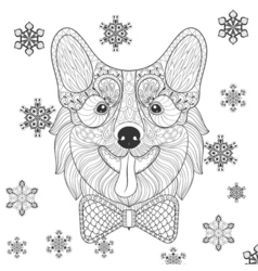 Corgi with bow tie in zentangle doodle style vector image vector image