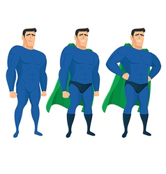 Funny superhero mascot in different poses vector image