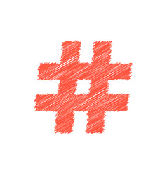 red scribble hashtag icon vector image vector image