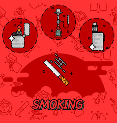 smoking flat concept icons vector image