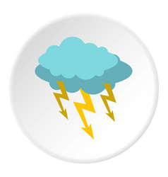 storm cloud lightning bolt icon circle vector image