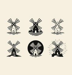 Windmill mill logo or label flour bakery icons vector