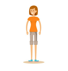 beautiful young girl in shorts and t-shirt vector image vector image