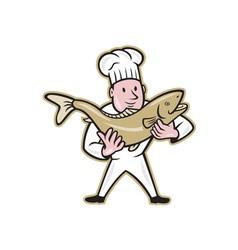 Chef Cook Handling Salmon Fish Standing vector image