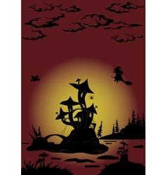 Halloween landscape with Castle - mushroom vector image vector image